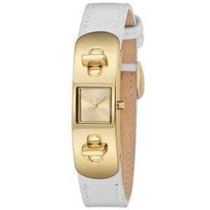 画像1: 【COACH】コーチ スワッガー レディース レザー ストラップ ウォッチ 腕時計 ゴールド×ホワイト 〔日本未発売〕