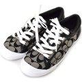 【COACH】コーチ シグネチャー スニーカー シューズ 靴 ブラック×ホワイト 25cm〔日本未発売〕