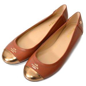 画像1: 【COACH】コーチ レザー フラット パンプス シューズ 靴 サドル 23cm〔日本未発売〕
