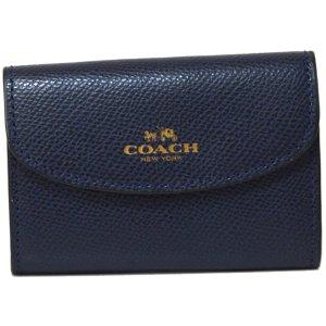 画像1: 【COACH】コーチ クロスグレーン レザー 6連 スマートキー対応 キーケース ミッドナイト(日本未発売)