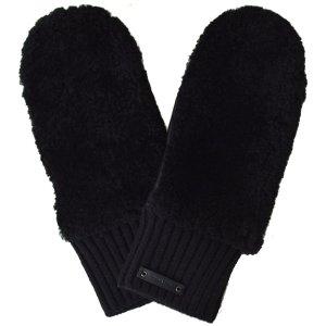 画像1: 【COACH】コーチ レザー ミトン グローブ 手袋 ブラック(日本未発売)