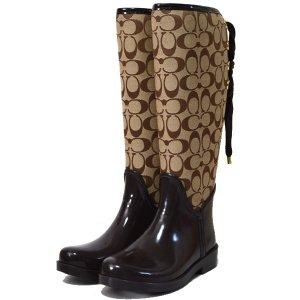 画像1: 【COACH】コーチ シグネチャー レインブーツ 長靴 チェスナッツ 23.5cm〔日本未発売〕