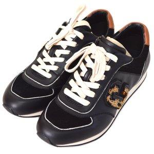 画像1: 【COACH】コーチ レベッカ バーシティ レザー C ロゴ オセロット スニーカー シューズ 靴 ブラック×サドル 22.5cm〔日本未発売〕