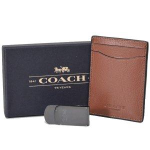 画像1: 【COACH】コーチ メンズ スムース カーフ レザー マネークリップ付き カードケース 名刺入れ ダークサドル(日本未発売)