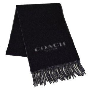 画像1: 【COACH】コーチ メンズ ウール カシミア リバーシブル フリンジ マフラー ブラック×チャコール(日本未発売)
