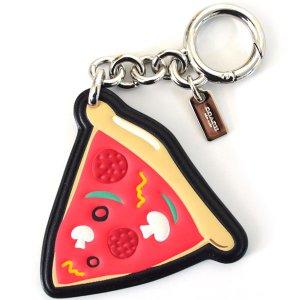 画像1: 【COACH】コーチ ピザ  レザー キーリング チャーム キーホルダー マルチ(日本未発売)