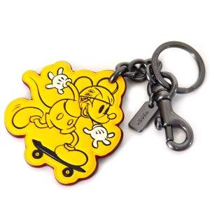 画像1: 【COACH】コーチ ディズニー ミッキーマウス コラボ クラシック レザー キーリング キーホルダー バナナ(日本未発売)
