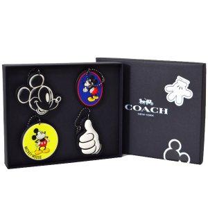 画像1: 【COACH】コーチ ディズニー ミッキーマウス コラボ クラシック レザー キーリング キーホルダー4点セット マルチ(日本未発売)