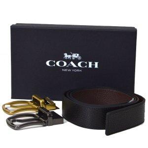 画像1: 【COACH】コーチ レザー リバーシブル  メンズ ベルト ブラック×ダークブラウン〔日本未発売〕