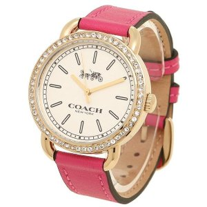 画像1: 【COACH】コーチ レックスゴールドトーン  ラインストーン レザー レディース ウォッチ 腕時計 ピンク×ゴールド〔日本未発売〕
