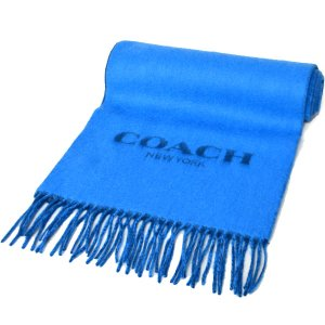 画像1: 【COACH】コーチ メンズ ウール カシミア混 リバーシブル バイカラー フリンジ マフラー ブライトブルー×ダークブルー(日本未発売)