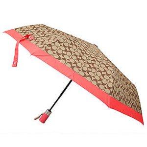 画像1: 【COACH】コーチ シグネチャー 折りたたみ傘 アンブレラ カーキ×ウォーターメロン(日本未発売)