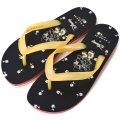 【COACH】コーチ ディズニー ミニーマウス  コラボ  フローラル ビーチ サンダル ブラック×イエロー 24cm〔日本未発売〕