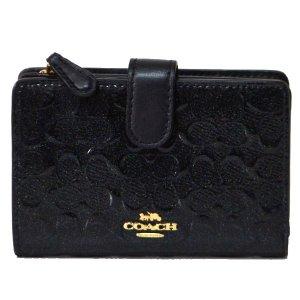 画像1: 【COACH】コーチ エンボスド パテント レザー ミディアム コーナー ジップ 二つ折り財布 ブラック(日本未発売)