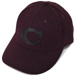 画像1: 【COACH】コーチ ウール レザー ワンポイント ロゴ キャップ 帽子 バーガンディー〔日本未発売〕