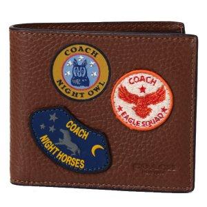 画像1: 【COACH】コーチ メンズ レザー アメリカン ミリタリー パッチ パッチワーク ワッペン 二つ折り財布 サドル(日本未発売)