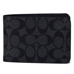 画像1: 【COACH】コーチ メンズ コーティングキャンバス シグネチャートラベル ウォレット ロゴ スリム 二つ折り財布 チャコール×ブラック(日本未発売)