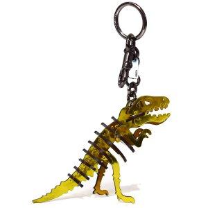 画像1: 【COACH】コーチ グラブタン レザー スモール レキシー 恐竜 キーリング キーホルダー バッグチャーム メタリックイエロー(日本未発売)
