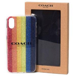 画像1: 【COACH】コーチ プラスチック グリッター レインボー ストライプ iPhoneXs MAX(iPhone10s MAX)専用 ケース マルチカラー〔日本未発売〕