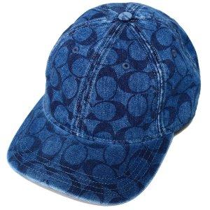 画像1: 【COACH】コーチ コットン レザー シグネチャー キャップ 帽子 デニム〔日本未発売〕
