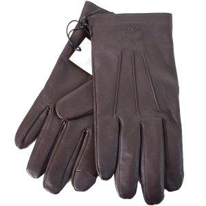 画像1: 【COACH】コーチ メンズ シープレザー ウール 羊皮 ベーシック タッチパネル スマホ対応 グローブ 手袋 マホガニー XL(日本未発売)
