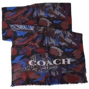 画像1: 【COACH】コーチ メンズ ウール ランドスケープ プリント スカーフ ブルー (日本未発売)