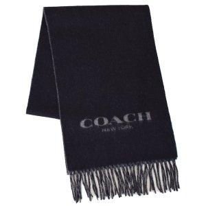 画像1: 【COACH】コーチ ウール カシミア バイカラー ロゴ スカーフ マフラー ブラック×グレー(日本未発売)