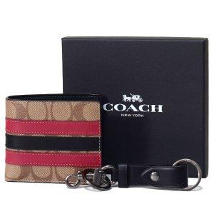 画像1: 【COACH】コーチ メンズ コーティングキャンバス カーフレザー シグネチャー ストライプ ビルフォード 二つ折り  財布+キーフォブ キーホルダー 専用BOX付 2点セット タンマルチ(日本未発売)