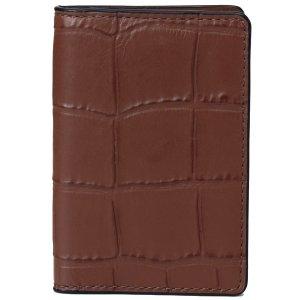 画像1: 【COACH】コーチ メンズ クロコダイルエンボスドレザー カード ウォレット 二つ折り  ID パスケース 定期入れ サドル(日本未発売)