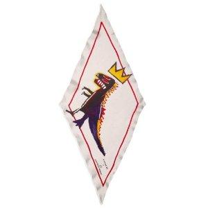 画像1: 【COACH】コーチ シルク ジャン ミシェル バスキア コラボ ダイナソー 恐竜 REXY レキシー クラウン ダイヤモンド シルク 100% スカーフ ストール ブラック×チャーク(日本未発売)