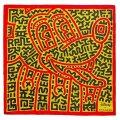 【COACH】コーチ シルク ディズニー ミッキーマウス キース へリング コラボ シルク 100% バンダナ スカーフ エレクトリックレッド×イエロー〔日本未発売〕