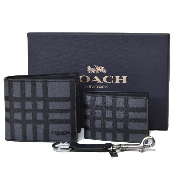 b9208ce10dab 画像1: 【COACH】コーチ メンズ メンズ コーティングキャンバス レザー コンパクト財布+定期