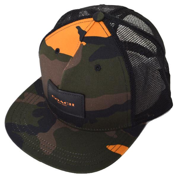 ae681569baa6 画像1: 【COACH】コーチ メッシュ レザー カモフラージュ 迷彩 キャップ フラット ブリム ハット 帽子