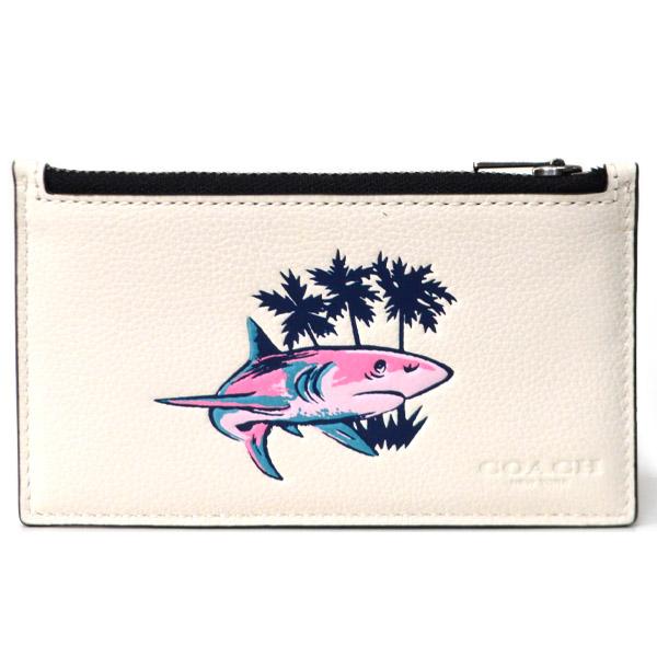 65ca8ffa0940 画像1: 【COACH】コーチ メンズ レザー サメ シャーク プリント ジップ コインケース 小銭