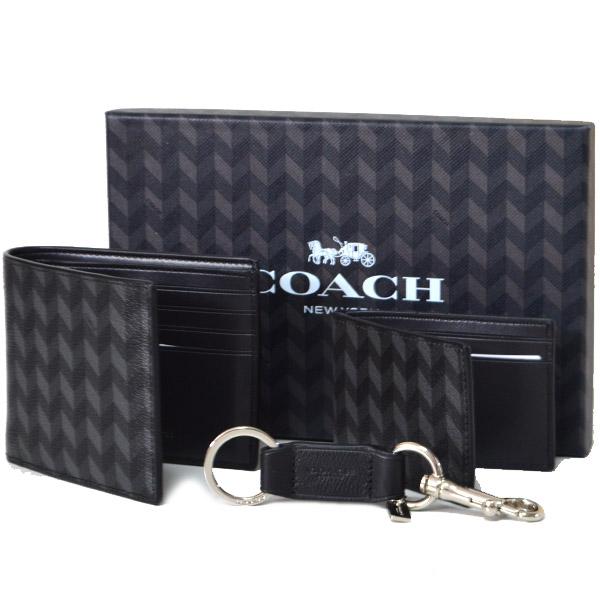 5784193acd8f 画像1: 【COACH】コーチ メンズ コーティング キャンパス レザー ヘリングボーン コンパクト財布+