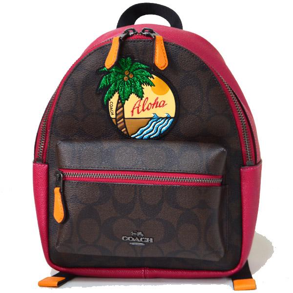 74156117f424 画像1: 【COACH】コーチ コーティングキャンパス シグネチャー ハワイアン アップリケ 刺繍 ミニ バックパック