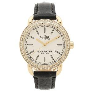 e0e8d1eb0db1 画像: 【COACH】コーチ レザー ラウンド ラインストーン レディース ウォッチ 腕時計 ブラック×ゴールド